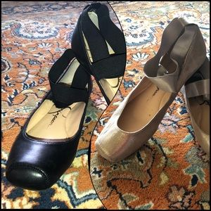 Jessica Simpson 2fer Ballet Flats Black & Shimmer
